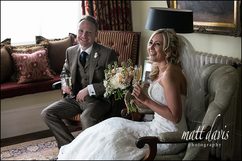 Natural photo of bride and groom inside the house at Friars Court