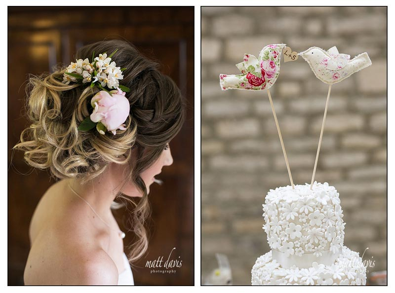 Wedding hair tied to the side with flowers