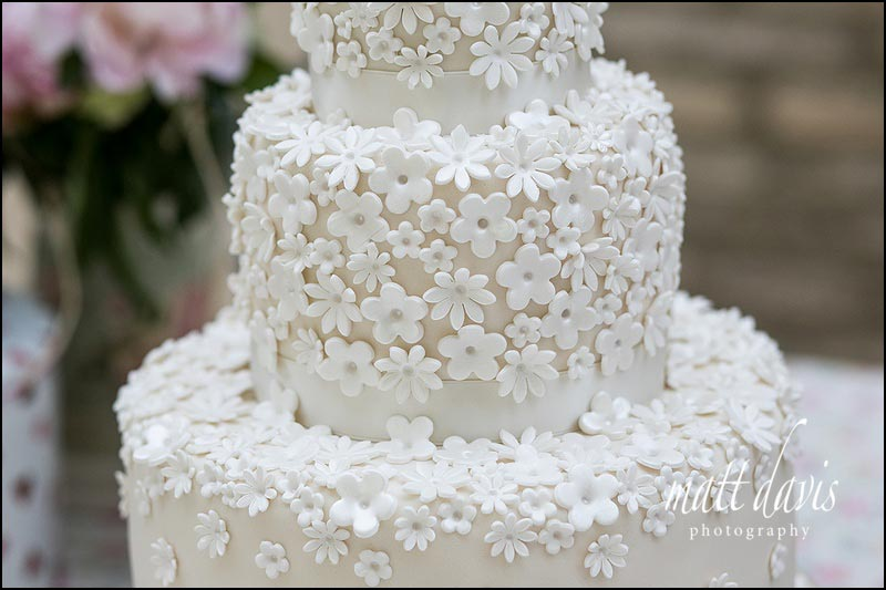 wedding cake with iced flower petal details