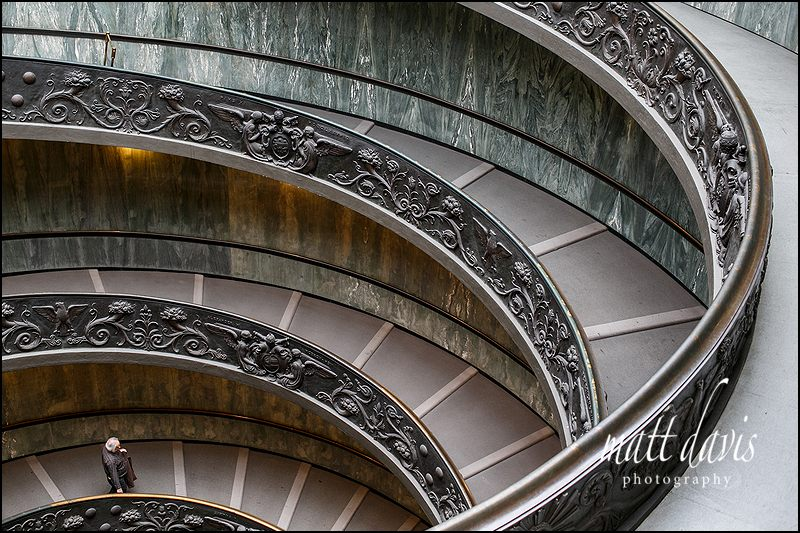 Vatican museum staircase in Rome taken by Gloucestershire Wedding photographer Matt Davis