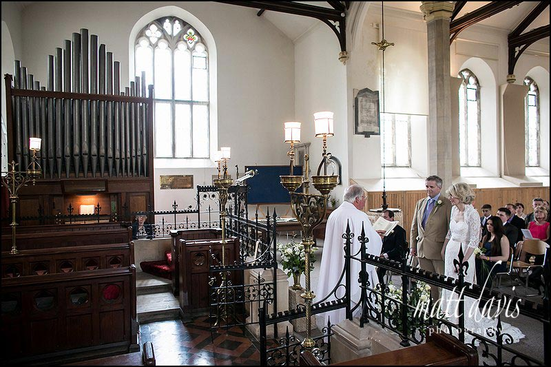 Inside Horsley Church, Gloucestershire for Wedding Photos during the ceremony