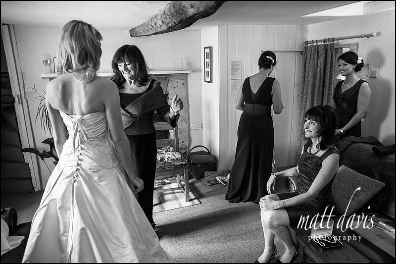 Documentary wedding photography of bridal preps in Lechlade Gloucestershire