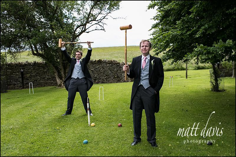 Croquet lawn at Cripps Barn wedding