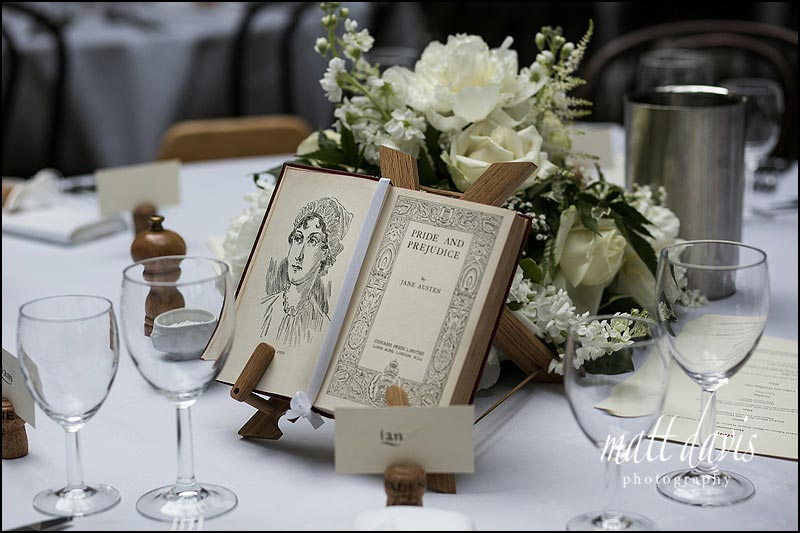 Unique ideas for table names with old books as centre pieces