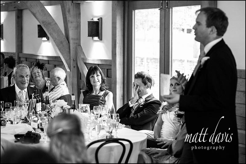 Cripps Barn wedding photography during speeches