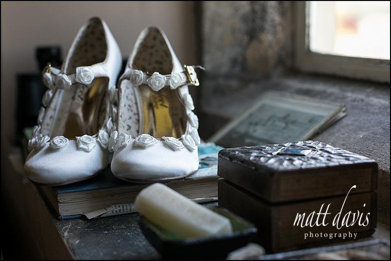 Cream Wedding shoes with delicate roses running around the edge.