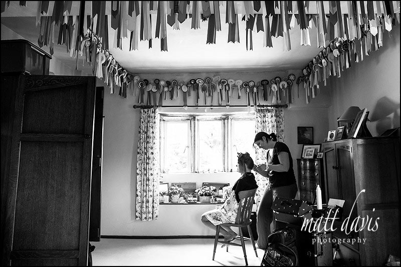 Bridal preparations taking place at parents home in Painswick Gloucestershire