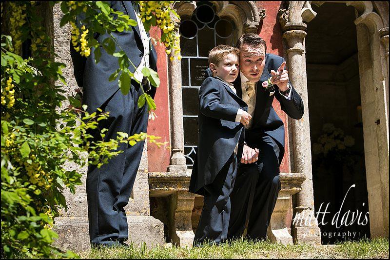Groom & son await brides arrival at a Rococo Gardens wedding