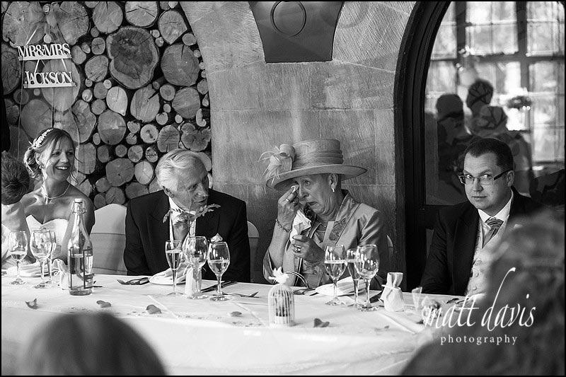 Tears during wedding speeches captured by Gloucestershire photographer Matt Davis Phootgraphy