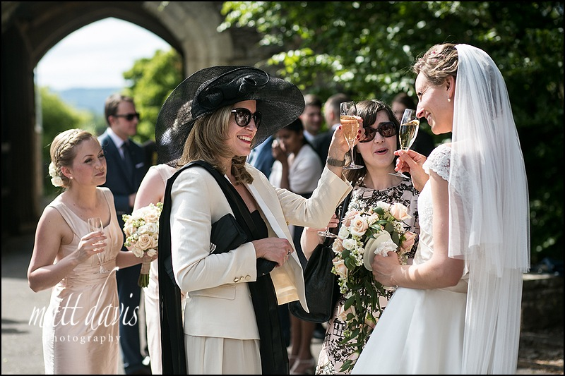 wedding guests enjoying champagne at a Berkeley Castle wedding