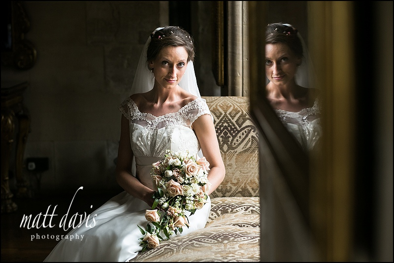 bridal portrait inside Berkeley castle