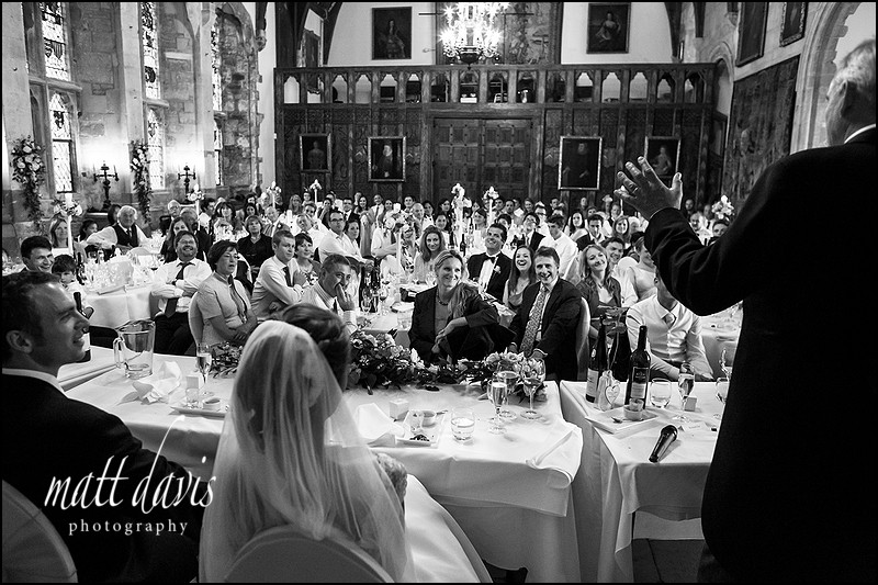 wedding speeches in the main hall at Berkeley Castle