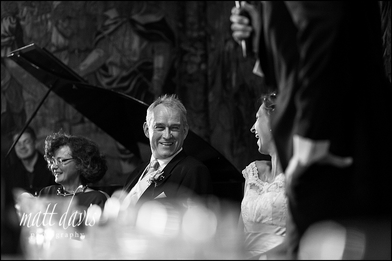 Bride and father laughing at a Berkeley Castle wedding