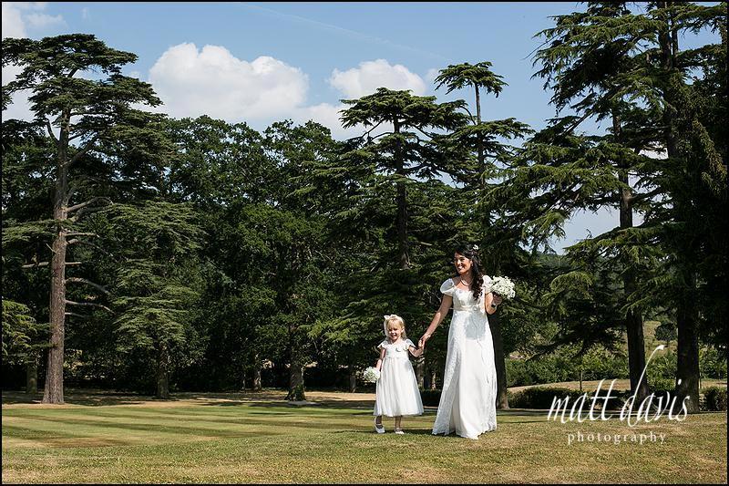 Bride and bridesmaid in Ellenborough Park gardens
