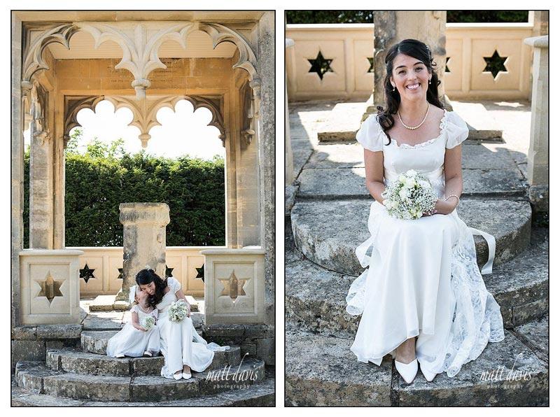 wedding photos at Ellenborough Park of the bride and bridesmaids in the outdoor folly
