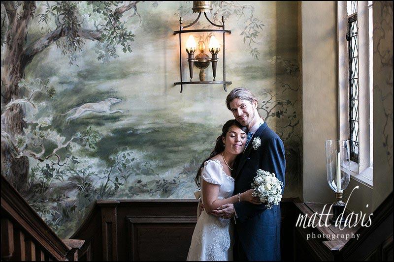 Ellenborough Park wedding-photos taken inside by the stair case