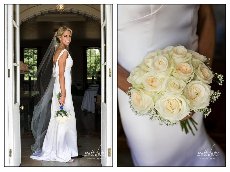 Classical wedding photographs of bride in doorway at Ardington House
