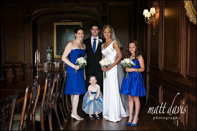 Group wedding photos taken inside Ardington House, Oxfordshire