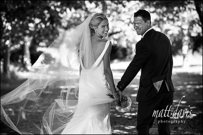 Gorgeous black and white photo of wedding couple at Ardington House