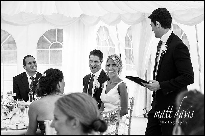 Wedding speeches at Ardington House in the Marquee