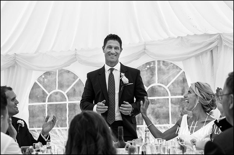 Wedding speeches at Ardington House in a Marquee