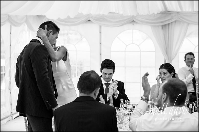 black and white photography of wedding speeches at Ardington House wedding