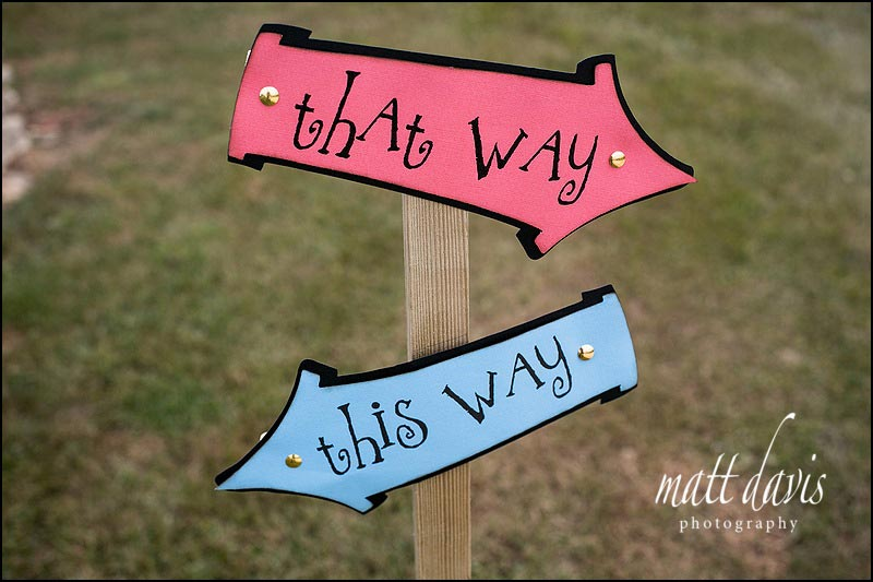 Quirky wedding signs used at Cripps Stone Barn
