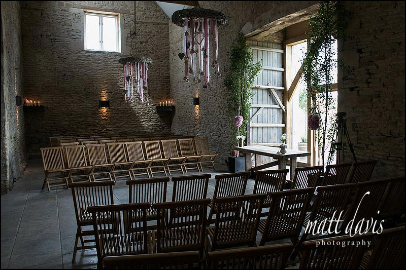 inside Cripps Stone Barn set ready for a civil wedding ceremony