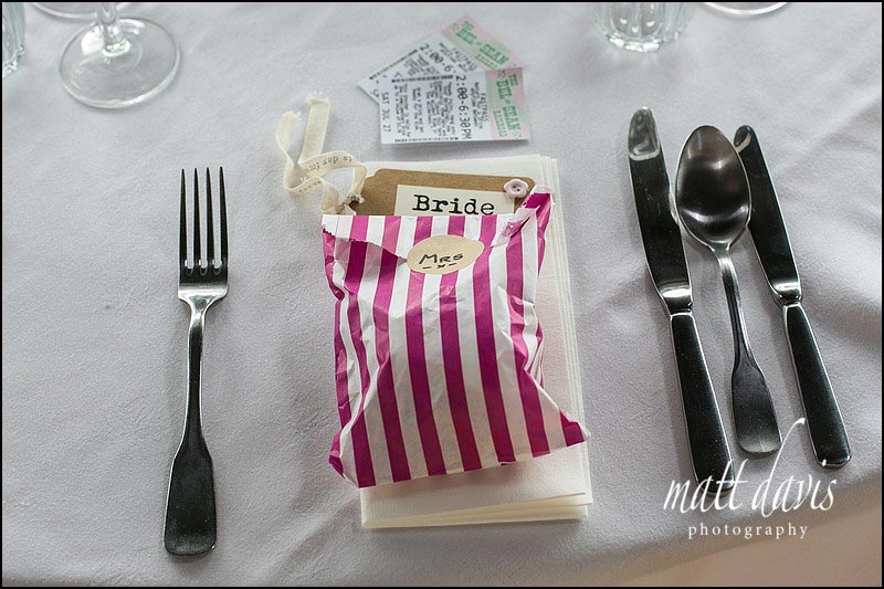unique wedding details for table displays and favours at Cripps Stone Barn