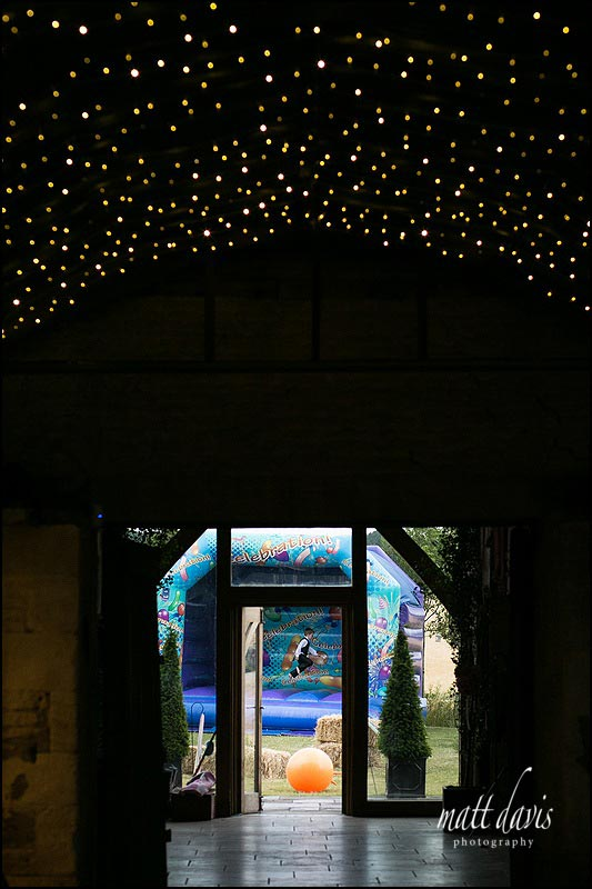 A bouncy castle at Cripps Stone ban for guests to play on during the wedding reception
