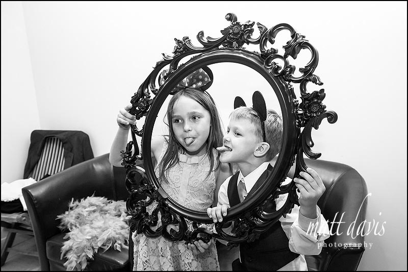 Props for wedding photo booth played with by kids