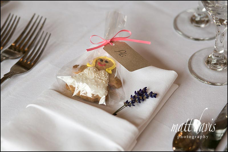 handmade wedding favours with iced gingerbread ladies