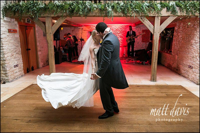 First dance wedding photography at Kingscote Barn