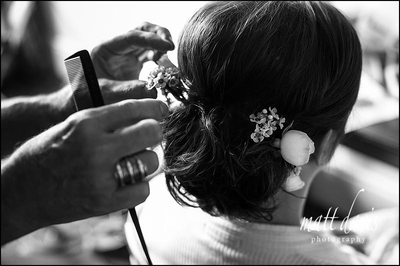 wedding hair with small flowers