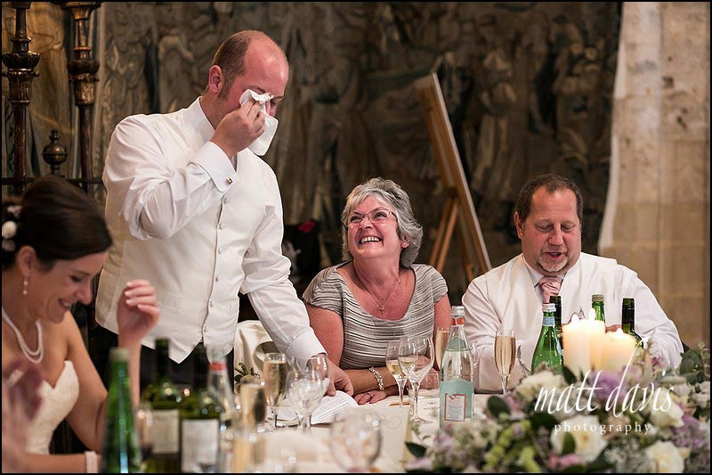 funny Photos during speeches at a Wedding at Berkeley Castle