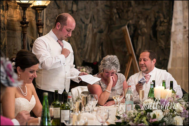 Emotional photos during speeches at a Wedding at Berkeley Castle