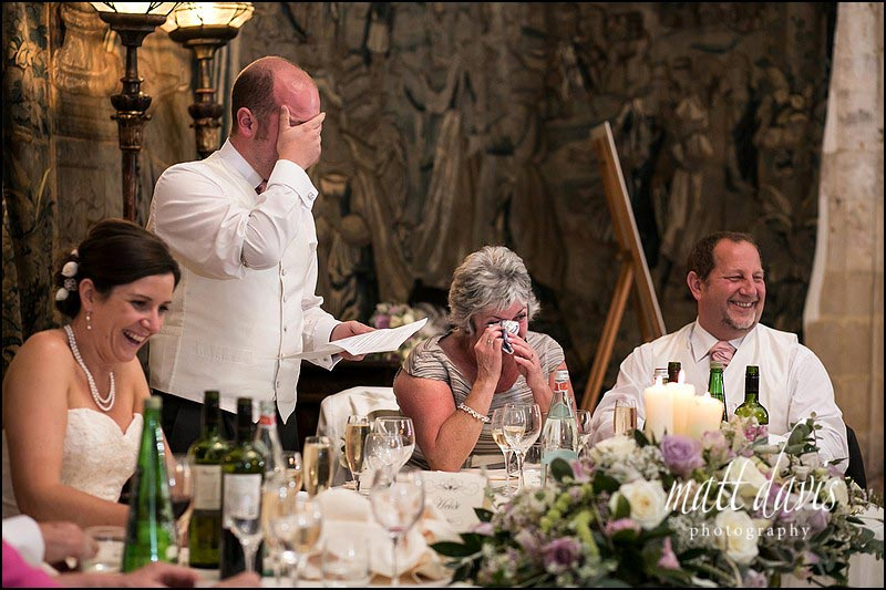 Photos during speeches at a Wedding at Berkeley Castle