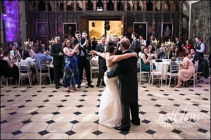 Berkeley Castle dance floor with bride and grooms first dance