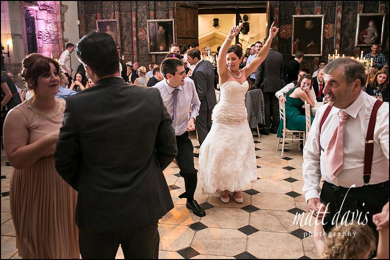 Bride on the dance floor at a Berkeley Castle wedding