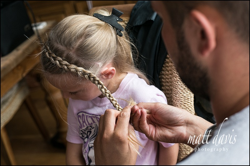 Platted hair for flower girl