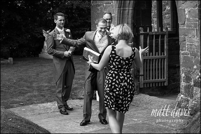 Wedding guests arriving at  St John The Baptist, Kings Caple, Herefordshire.