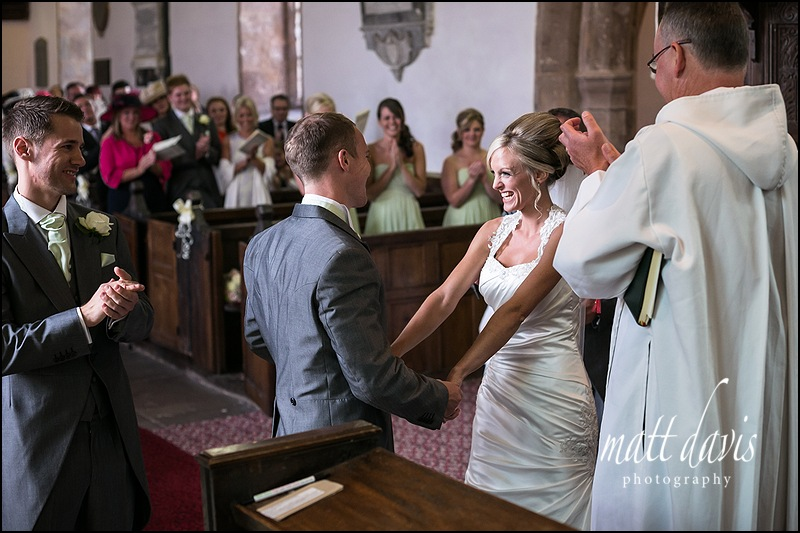 Wedding ceremony at St John The Baptist, Kings Caple