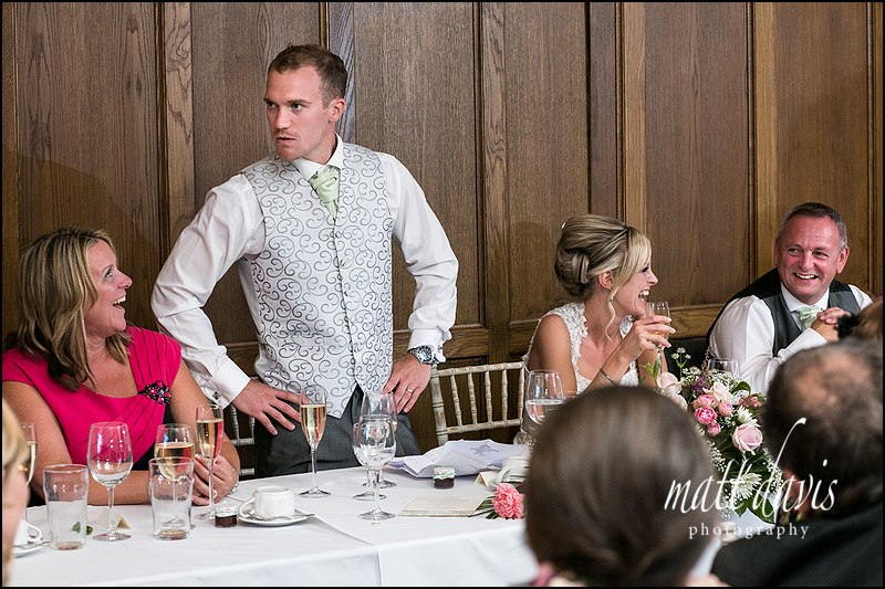 Grooms wedding speech at Caradoc Court