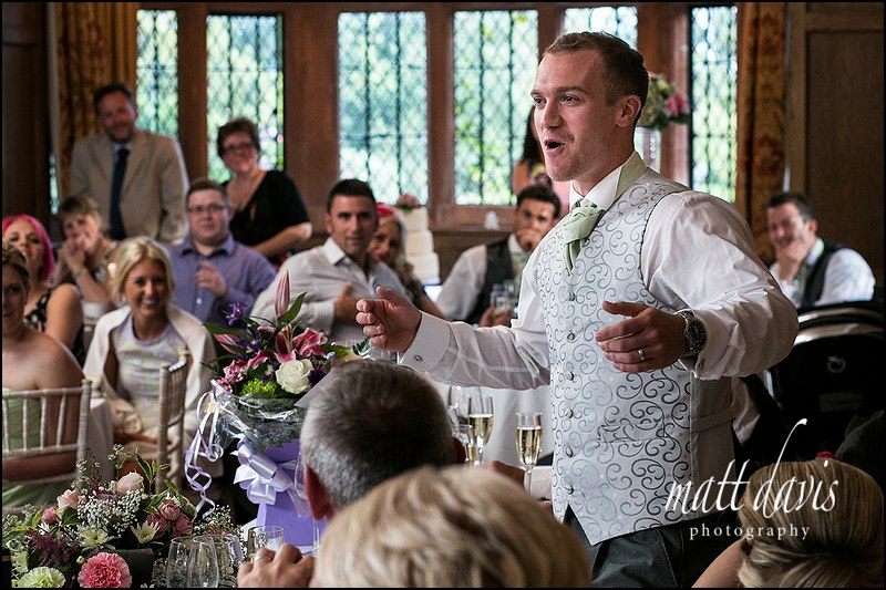 Groom doing a wedding speech at Caradoc Court