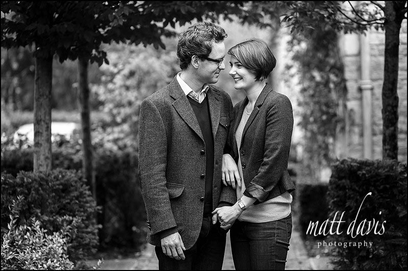 Black and white pre wedding photos at Barnsley House near Cirencester, Gloucestershire