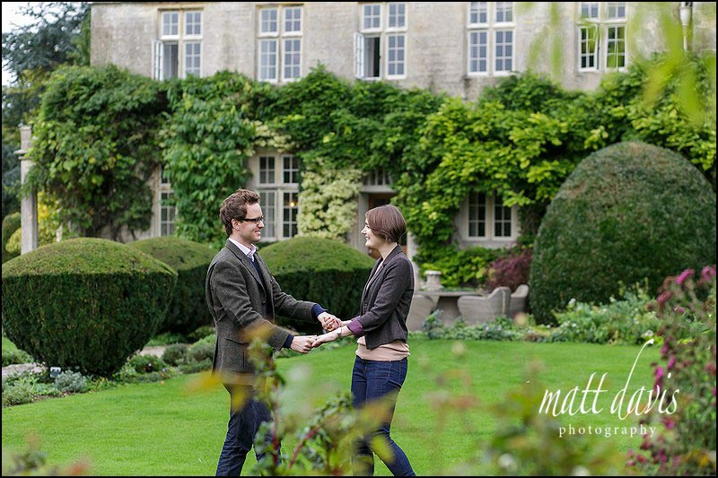 Relaxed Engagement photos at Barnsley House taken by Matt Davis
