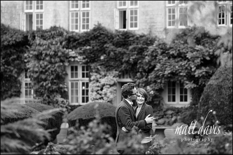 Stunning black and white Engagement photos at Barnsley House near Cirencester, Gloucestershire