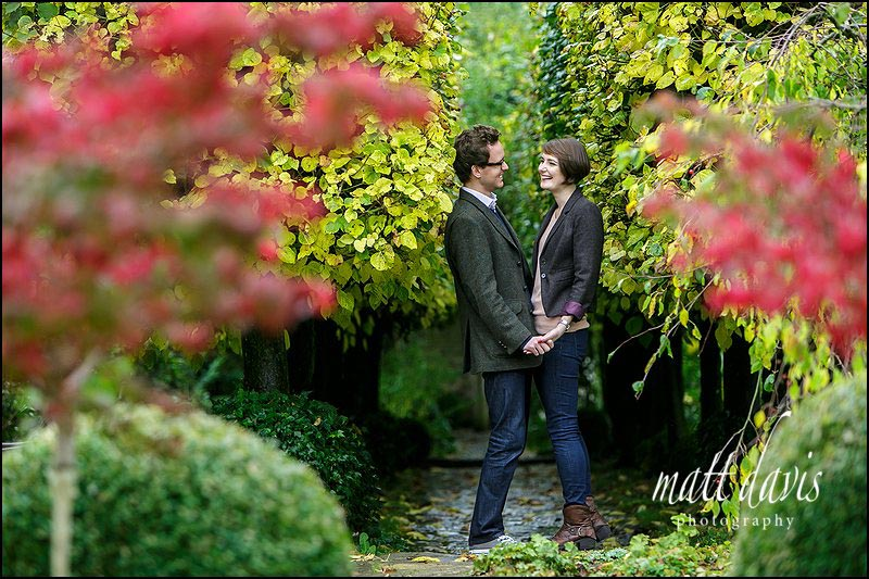 Engagement photos at Barnsley House in Autumn