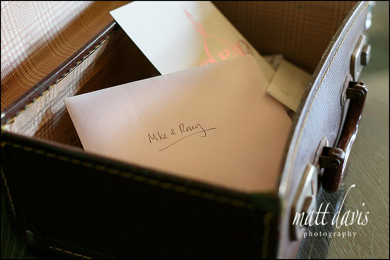 An old suitcase used for wedding cards and gifts