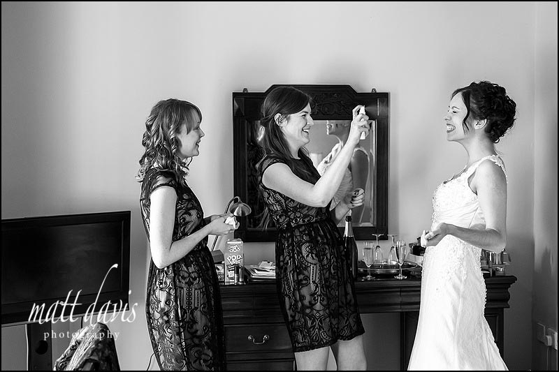 Wedding photography at Limpley Stoke Hotel of bride getting ready